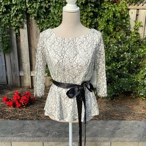 Eliza J lace peplum top with black sash
